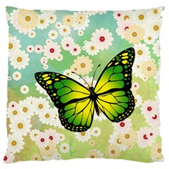 Green Butterfly Large Cushion Case (two Sides) by linceazul