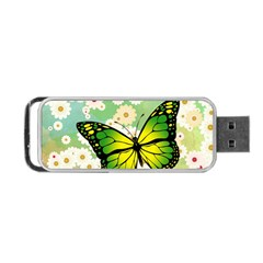 Green Butterfly Portable Usb Flash (two Sides) by linceazul