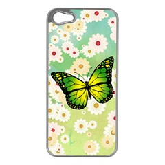 Green Butterfly Apple Iphone 5 Case (silver) by linceazul