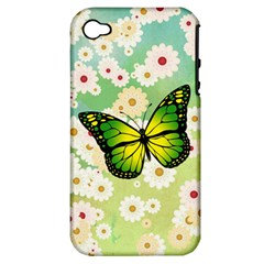 Green Butterfly Apple Iphone 4/4s Hardshell Case (pc+silicone) by linceazul