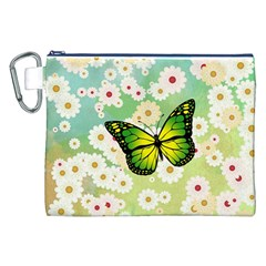 Green Butterfly Canvas Cosmetic Bag (xxl) by linceazul