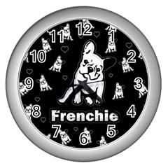 Frenchie Wall Clocks (silver)  by Valentinaart