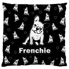 Frenchie Large Flano Cushion Case (two Sides) by Valentinaart