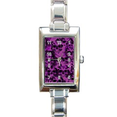 Cloudy Skulls Black Purple Rectangle Italian Charm Watch by MoreColorsinLife