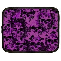Cloudy Skulls Black Purple Netbook Case (large) by MoreColorsinLife