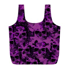 Cloudy Skulls Black Purple Full Print Recycle Bags (l)  by MoreColorsinLife