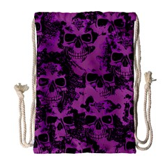 Cloudy Skulls Black Purple Drawstring Bag (large) by MoreColorsinLife
