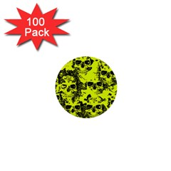 Cloudy Skulls Black Yellow 1  Mini Buttons (100 Pack)  by MoreColorsinLife