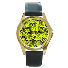 Cloudy Skulls Black Yellow Round Gold Metal Watch by MoreColorsinLife