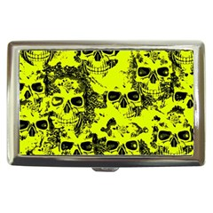 Cloudy Skulls Black Yellow Cigarette Money Cases by MoreColorsinLife