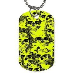 Cloudy Skulls Black Yellow Dog Tag (two Sides) by MoreColorsinLife