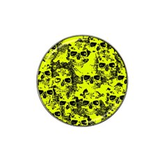 Cloudy Skulls Black Yellow Hat Clip Ball Marker by MoreColorsinLife