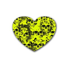 Cloudy Skulls Black Yellow Heart Coaster (4 Pack)  by MoreColorsinLife