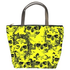 Cloudy Skulls Black Yellow Bucket Bags by MoreColorsinLife