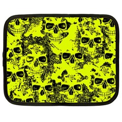 Cloudy Skulls Black Yellow Netbook Case (xl)  by MoreColorsinLife