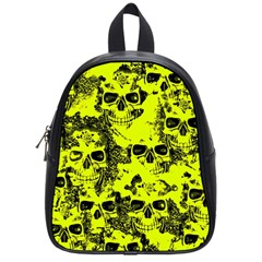 Cloudy Skulls Black Yellow School Bags (small)  by MoreColorsinLife