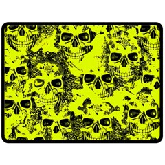 Cloudy Skulls Black Yellow Fleece Blanket (large)  by MoreColorsinLife
