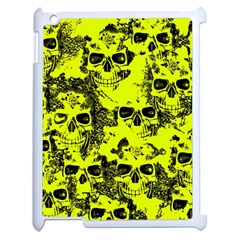Cloudy Skulls Black Yellow Apple Ipad 2 Case (white) by MoreColorsinLife