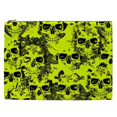 Cloudy Skulls Black Yellow Cosmetic Bag (xxl)  by MoreColorsinLife