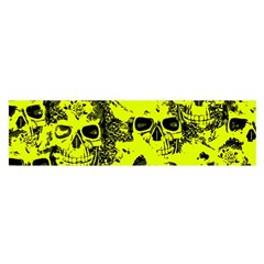 Cloudy Skulls Black Yellow Satin Scarf (oblong) by MoreColorsinLife