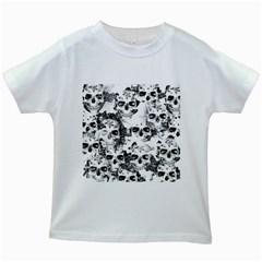 Cloudy Skulls B&w Kids White T Shirts by MoreColorsinLife