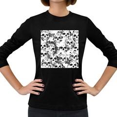 Cloudy Skulls B&w Women s Long Sleeve Dark T Shirts by MoreColorsinLife