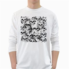 Cloudy Skulls B&w White Long Sleeve T-Shirts by MoreColorsinLife