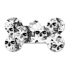 Cloudy Skulls B&w Dog Tag Bone (two Sides) by MoreColorsinLife