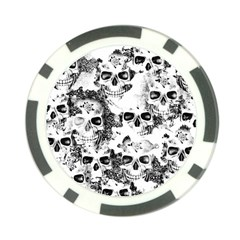 Cloudy Skulls B&w Poker Chip Card Guard by MoreColorsinLife