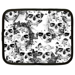 Cloudy Skulls B&w Netbook Case (large) by MoreColorsinLife