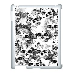 Cloudy Skulls B&w Apple Ipad 3/4 Case (white) by MoreColorsinLife