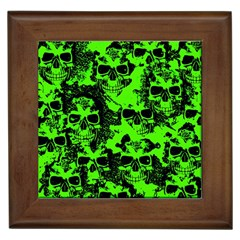 Cloudy Skulls Black Green Framed Tiles by MoreColorsinLife