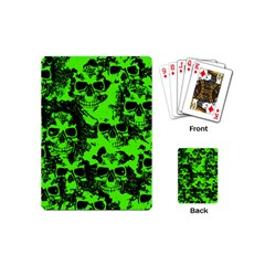 Cloudy Skulls Black Green Playing Cards (mini)  by MoreColorsinLife