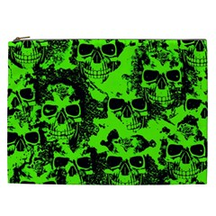 Cloudy Skulls Black Green Cosmetic Bag (xxl)  by MoreColorsinLife