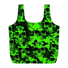 Cloudy Skulls Black Green Full Print Recycle Bags (l)  by MoreColorsinLife
