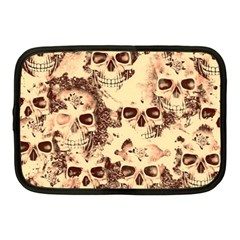 Cloudy Skulls Beige Netbook Case (medium)  by MoreColorsinLife