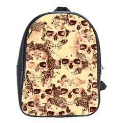 Cloudy Skulls Beige School Bags(large)  by MoreColorsinLife