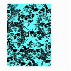 Cloudy Skulls Aqua Large Garden Flag (two Sides) by MoreColorsinLife