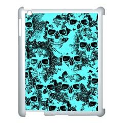 Cloudy Skulls Aqua Apple Ipad 3/4 Case (white) by MoreColorsinLife