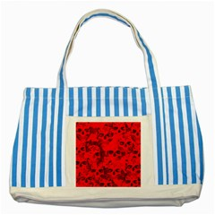 Cloudy Skulls Red Striped Blue Tote Bag by MoreColorsinLife