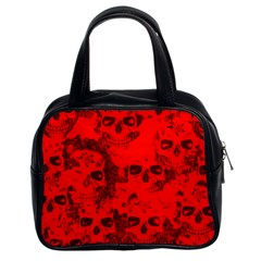 Cloudy Skulls Red Classic Handbags (2 Sides) by MoreColorsinLife