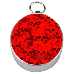 Cloudy Skulls Red Silver Compasses by MoreColorsinLife