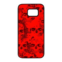 Cloudy Skulls Red Samsung Galaxy S7 edge Black Seamless Case by MoreColorsinLife