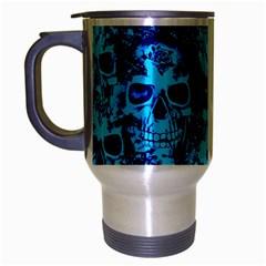 Cloudy Skulls Blue Travel Mug (silver Gray) by MoreColorsinLife