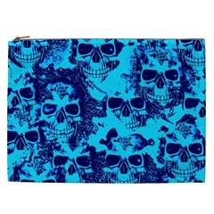 Cloudy Skulls Blue Cosmetic Bag (xxl)  by MoreColorsinLife