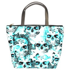 Cloudy Skulls White Aqua Bucket Bags by MoreColorsinLife