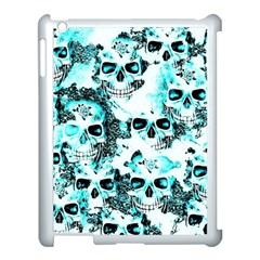 Cloudy Skulls White Aqua Apple Ipad 3/4 Case (white) by MoreColorsinLife