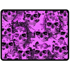 Cloudy Skulls Pink Fleece Blanket (large)  by MoreColorsinLife