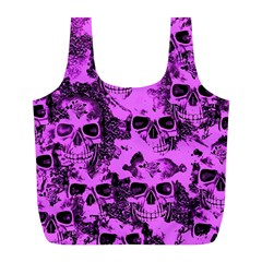 Cloudy Skulls Pink Full Print Recycle Bags (l)  by MoreColorsinLife