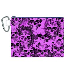 Cloudy Skulls Pink Canvas Cosmetic Bag (xl) by MoreColorsinLife